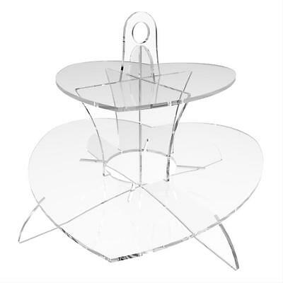 2 Tier Cup Cake Stand Wedding Birthday Party Acrylic Cupcake Display - Heart