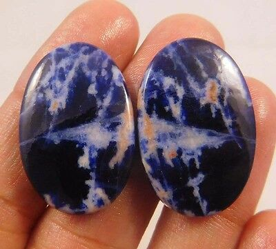36 Cts. 100% NATURAL SODALITE OVAL SHAPE CABOCHON MATCHED PAIR GEMSTONE (ND312)
