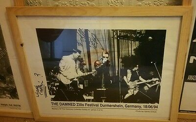 Punk 40Th The Damned Signed Framed Original Black And White Promo Poster