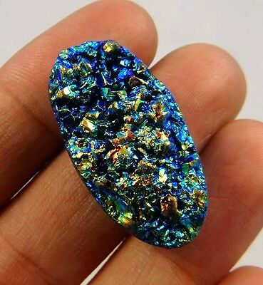 40 Cts.  NATURAL RAINBOW DRUZY AGATE LOOSE CABOCHON GEMSTONE (NB713)