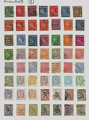 Collection of 137 Finland Postage Stamps on Album Sheets