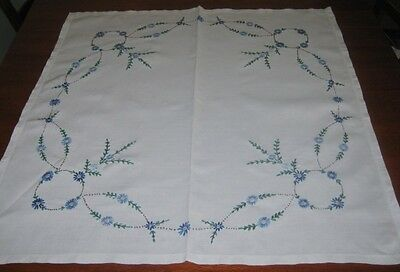Vintage Hand Embroidered Supper Cloth ~ Linen ~ Square