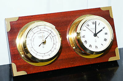 Maritime Nautical Wempe Chronometerwerke Hamburg Clock Barometer Mahogany Brass