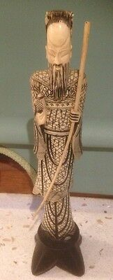 Chinese Figurine Statue Resin Carved 33cm Pedestal.