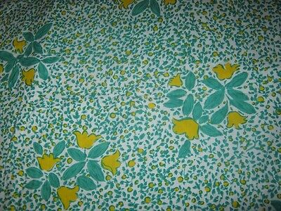 Vintage Fabric ~ Bright Green/yellow Design ~ Polished Cotton ~ 3+1/2 Metres