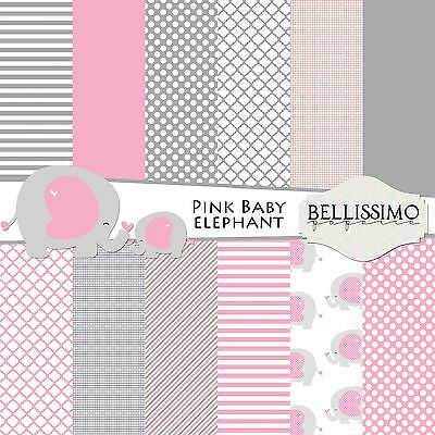Elephant, PINK Scrapbook Papers, 12 Sheets, Custom Designs,baby, baby shower