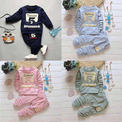 Baby Kids Girl Boy Pullover Shirt Tops+Long Pants 2PCS Clothes Outfits Tracksuit