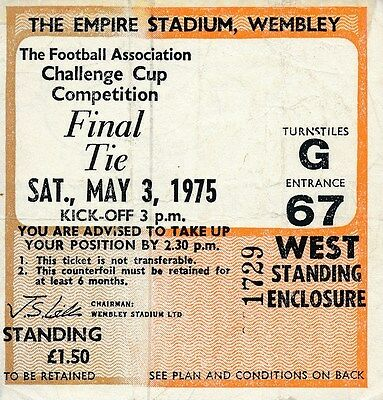 TICKET: FA CUP FINAL 1975 Fulham v West Ham United