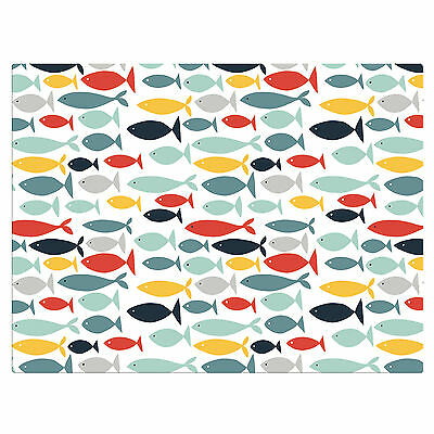 Seaside Little Fish Glass Worktop Saver in Duck Egg Blue - Table Protector