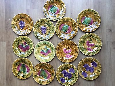 Beautiful 13x Set Of Fruit Motif Vintage French Majolica Plates By Sarreguemines