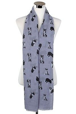 Border Collie Dog Scarf Shawl Wrap Great Gift for Dog Lover Grey FREE P&P