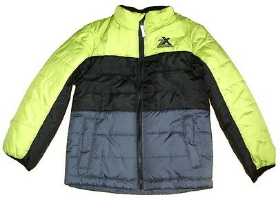 zeroXposur Boys Quilted Puffa Jacket & Beanie Hat Black Grey/Blue & Lime NEW