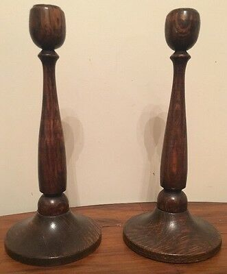Antique Vintage Treen Wooden Wood  Turned Pair Of Candlesticks 10 Inches