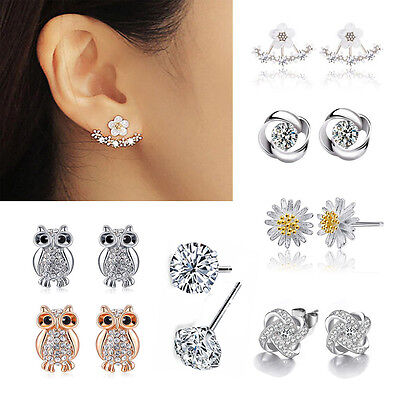 Women Elegant Crystal Rhinestone Ear Stud 925 Silver Earrings Fashion Jewelry