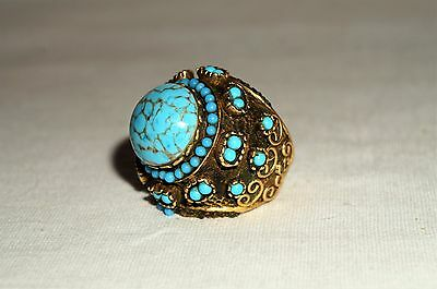 VINTAGE MASSIVE TURQUOISE HAMMERING BRASS  RING 9.5 S signed VINTAGE ITALY WOW!