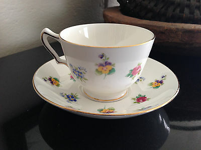 Vintage Crown Staffordshire Cup & Saucer set in Fine Bone China England Flowers