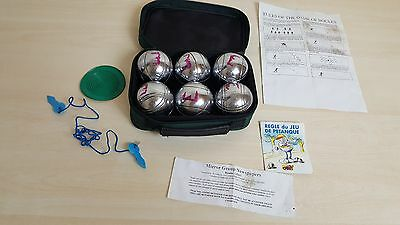 6 Ball Heavy Steel French Boules / Pentanque Set - Garden Game With Instructions