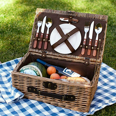 Luxury Wicker Willow Picnic Baskets 2 Person Outdoor Hamper Set Cutlery