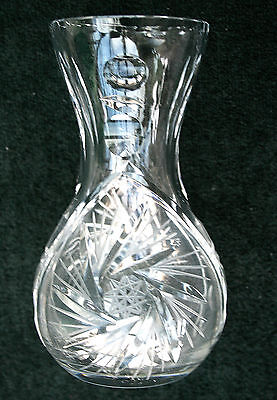 Superb Waisted Bohemian Crystal Vase in Pin Wheel Design 5.75in (14.5cm) High