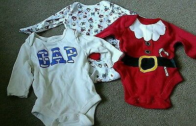 3x long sleeved baby vests Age 0-3 months
