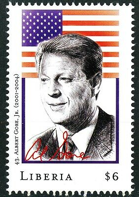 Al Gore Jr. 43rd President Error $6.00 Stamp from Liberia with Wrong Dates