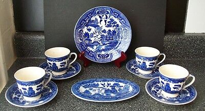 Kakusa Occupied Japan BLUE WILLOW PLATE & 4 Blue Willow Cups/Saucers & Oval Dish