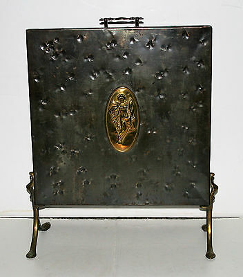 Antique 1900s Hammered Iron Fireplace Fire Screen Goddess Demeter Brass Plaque