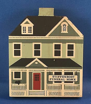 Vintage Cat's Meow Village STIFFENBODY FUNERAL HOME 1988 Wood Shelf Sitter