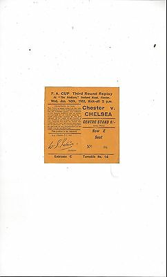 Chester v Chelsea FA Cup Replay Match Ticket 1951/52