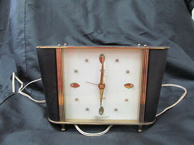 Vintage SMITHS  Brass Detail Electric Mantel Clock
