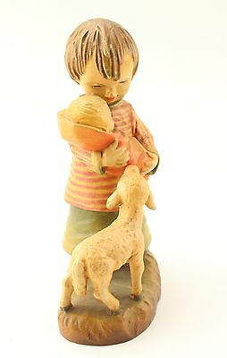 ANRI Wooden Child with Baby and Lamb Decorative Figurine