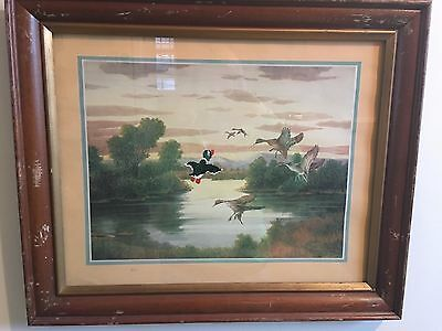 Upcycled vintage Duck Hunt painting