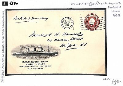E176 1936 GB ILLUSTRATED POSTAL STATIONERY Maiden Voyage *R.M.S. Queen Mary*