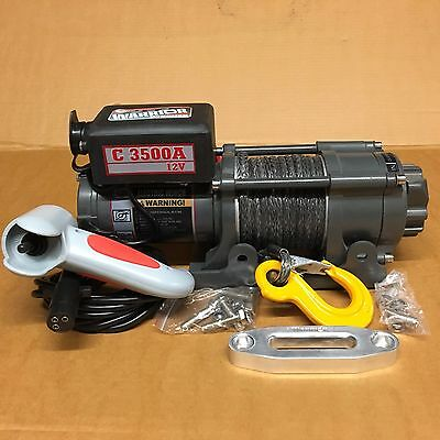 3500lbs 1.6ton 12v electric winch with synthetic rope, free spool (refurbished)