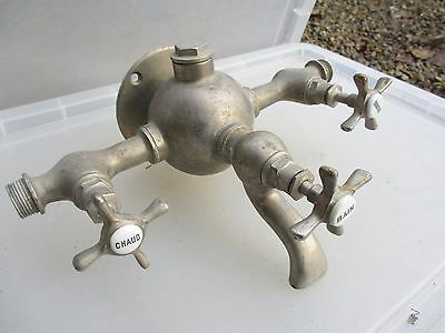 Vintage Chromed Brass Bath Mixer Taps Spout French Architectural Antique Nickel