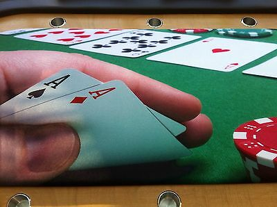 Delux hand made poker table with glass cover seats 10