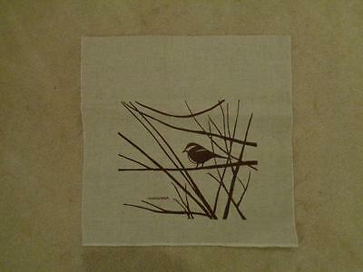 Winter bird silk screen on fabric  70's Marushka image chickadee