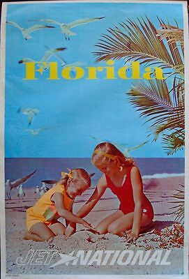 NATIONAL AIRLINES FLORIDA EAST COAST Vintage 1963 Travel poster 28x42