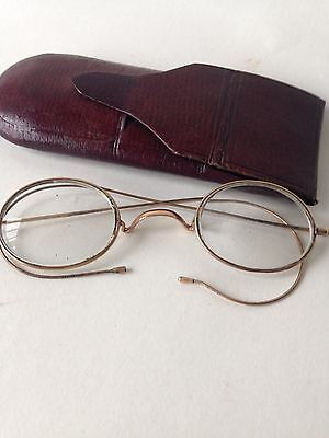 Vintage 1920's Glasses In Original Leather Case