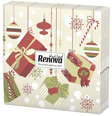 Renova Luxury 3 Ply Christmas Xmas Presents Printed Party Paper Tissues Napkins
