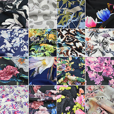 "Premium Quality Printed Jersey Stretch Scuba Dress Fabric Per Metre 59"" Wide"