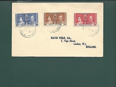 VIRGIN ISLANDS COVER, 1937 stamps on cover to England.