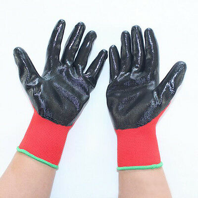 12 Pairs Nylon Safety NBR Coating Work Gloves Builders Grip Protect Useful