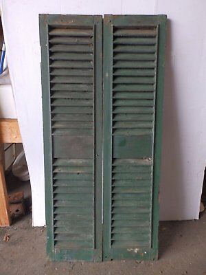 Pair Antique Shutters Door Window Louvered Vintage Painted Old 13x53 2243-16