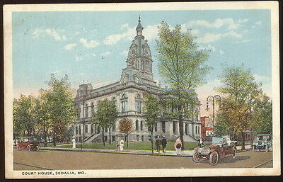 1920 Picture Post Card, Court House , Sedalia, Mo. Old Cars