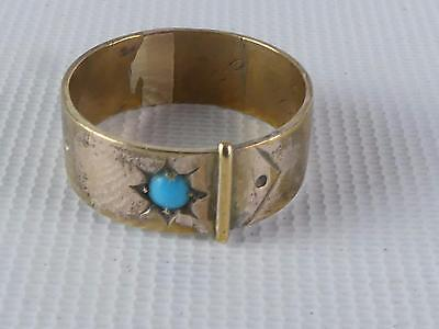 (Ref165CN) Antique Victorian Rolled Gold and Turquoise Ring Size T