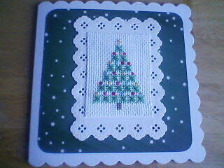 Completed Cross Stitch Card.Christmas.Tree.