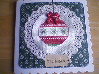 Completed Cross Stitch Card.Christmas.Bauble.