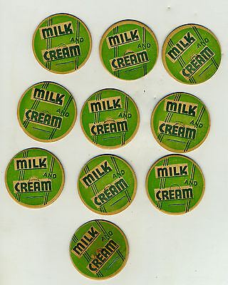 Glass Milk Bottle Cap Cream Lid Disk Vintage Covers Green and White lot of 10