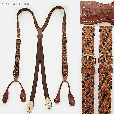 Vtg MARTIN DINGMAN MADE in ENGLAND Brown/Black WOVEN LEATHER Suspenders Braces